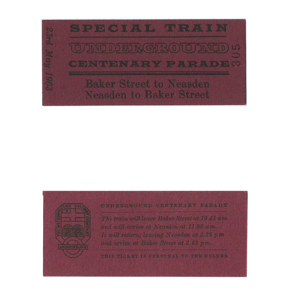 London Underground centenary ticket 1963