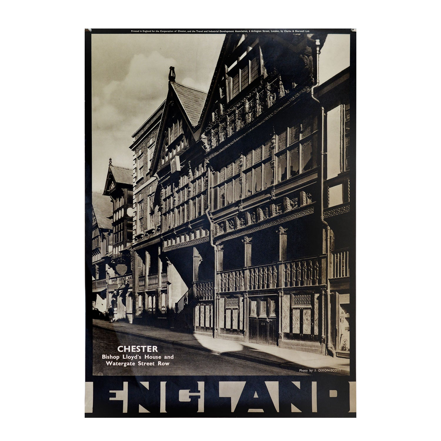 A superb photogravure poster published by the British Travel & Industrial Development Association, featuring Bishop Lloyd's House and Watergate Street House, Chester