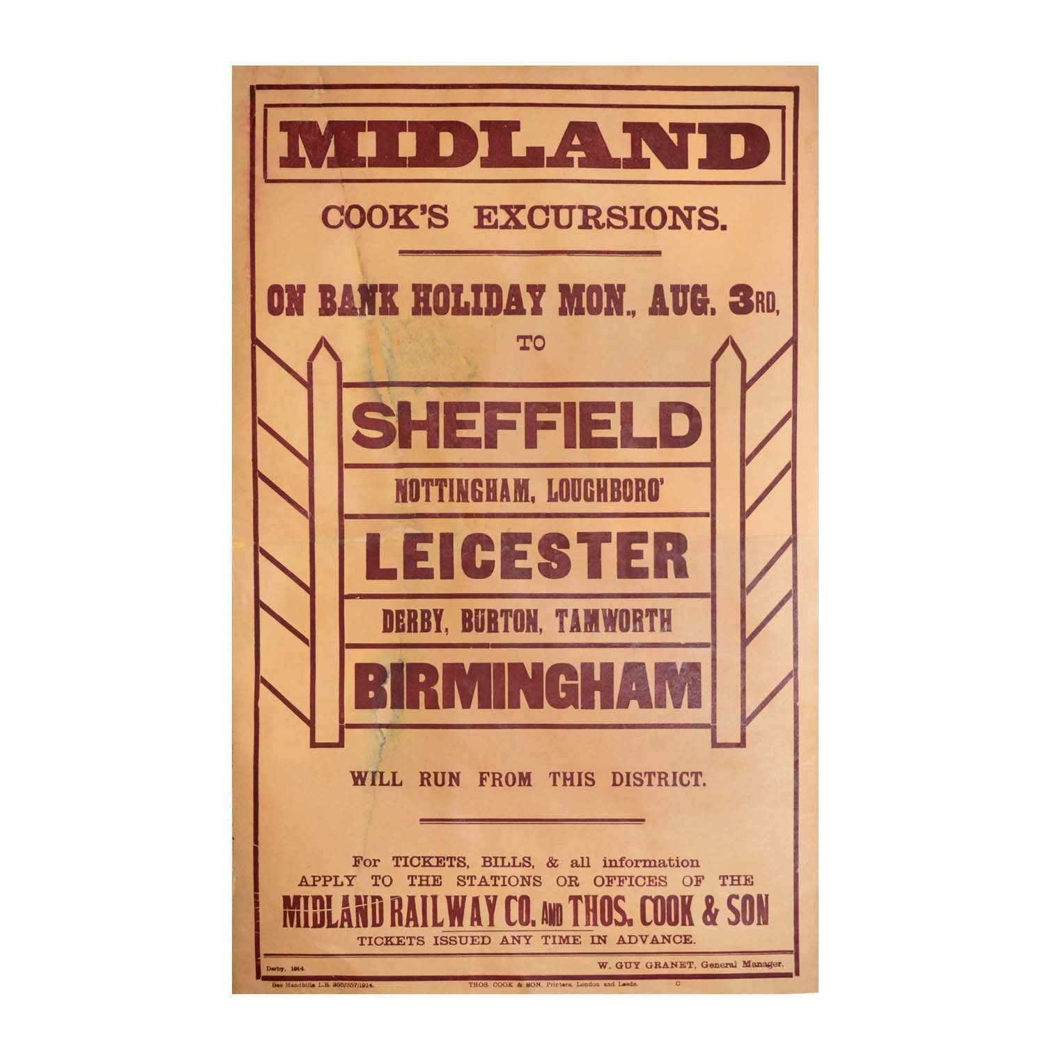 Original midland railway First World War poster. 1914. Cooks Tours