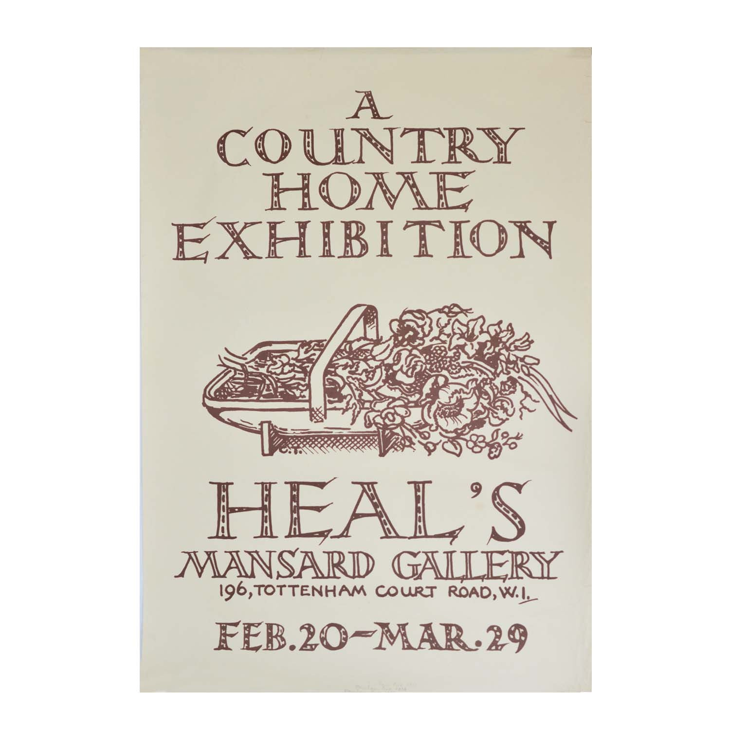 Original Mansard Gallery poster. 1930s. 'Country Home' interior design