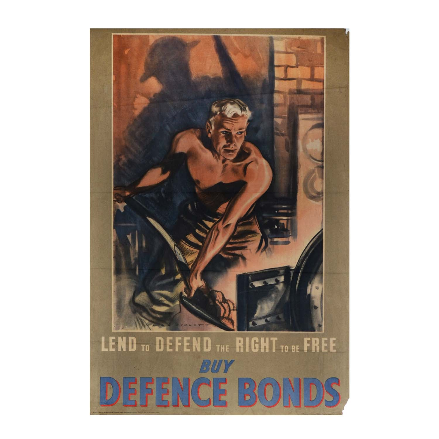 Original Second World War Home Front poster. Lend to Defend. Buy Defence Bonds. John Pimlott. 1940s
