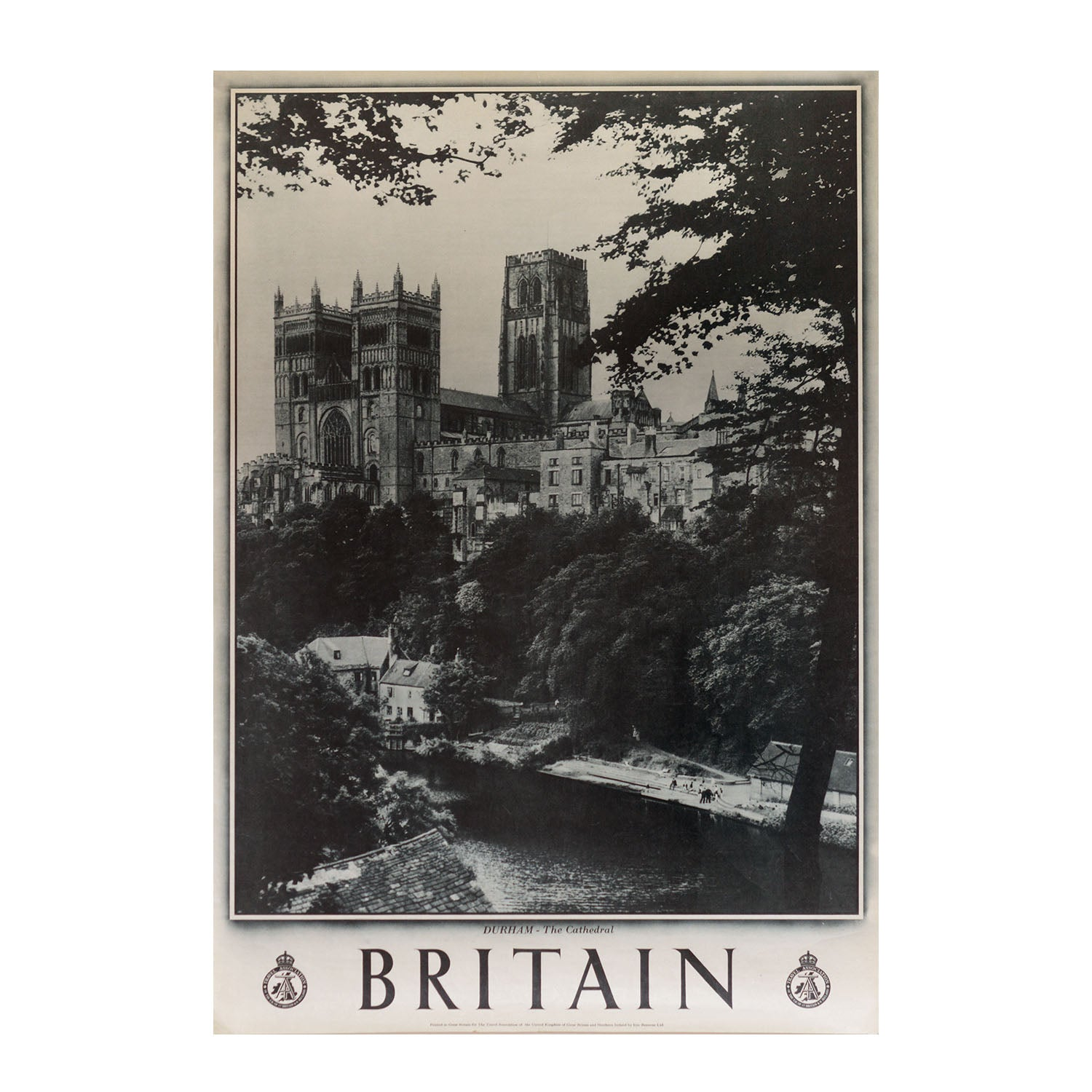 A lovely photographic poster showing Durham Cathedral and the River Wear, published by the British Travel Association