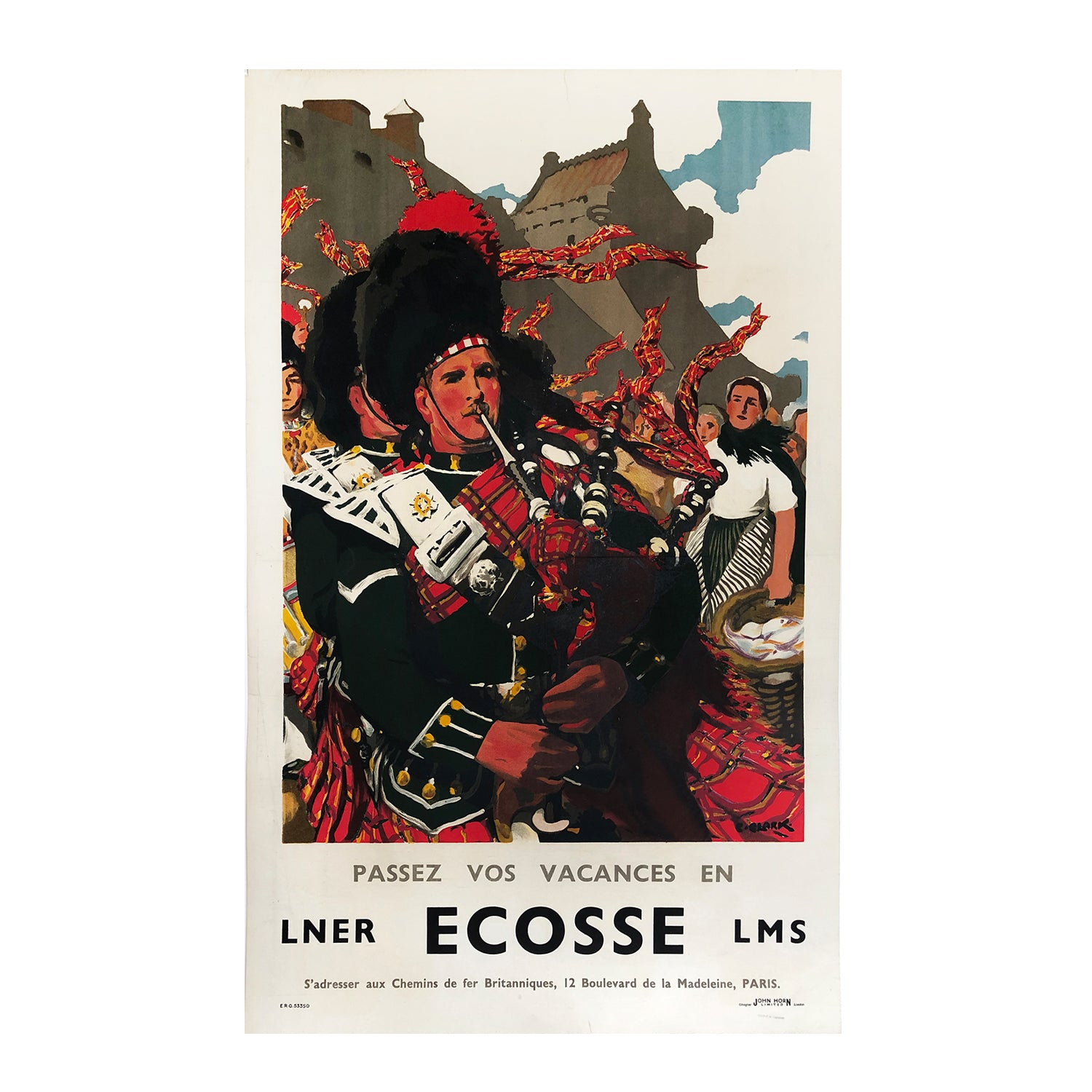 An original, vibrant, 1930s Scottish railway poster printed for the French market, depicting Highland pipers with Edinburgh Castle in the background