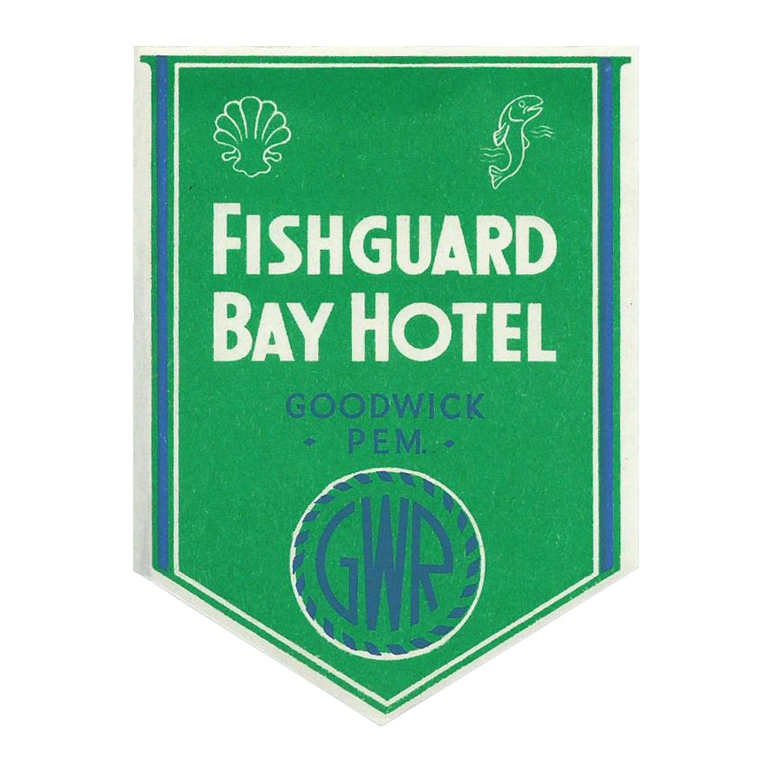 Fishguard Bay Hotel Luggage label, GWR