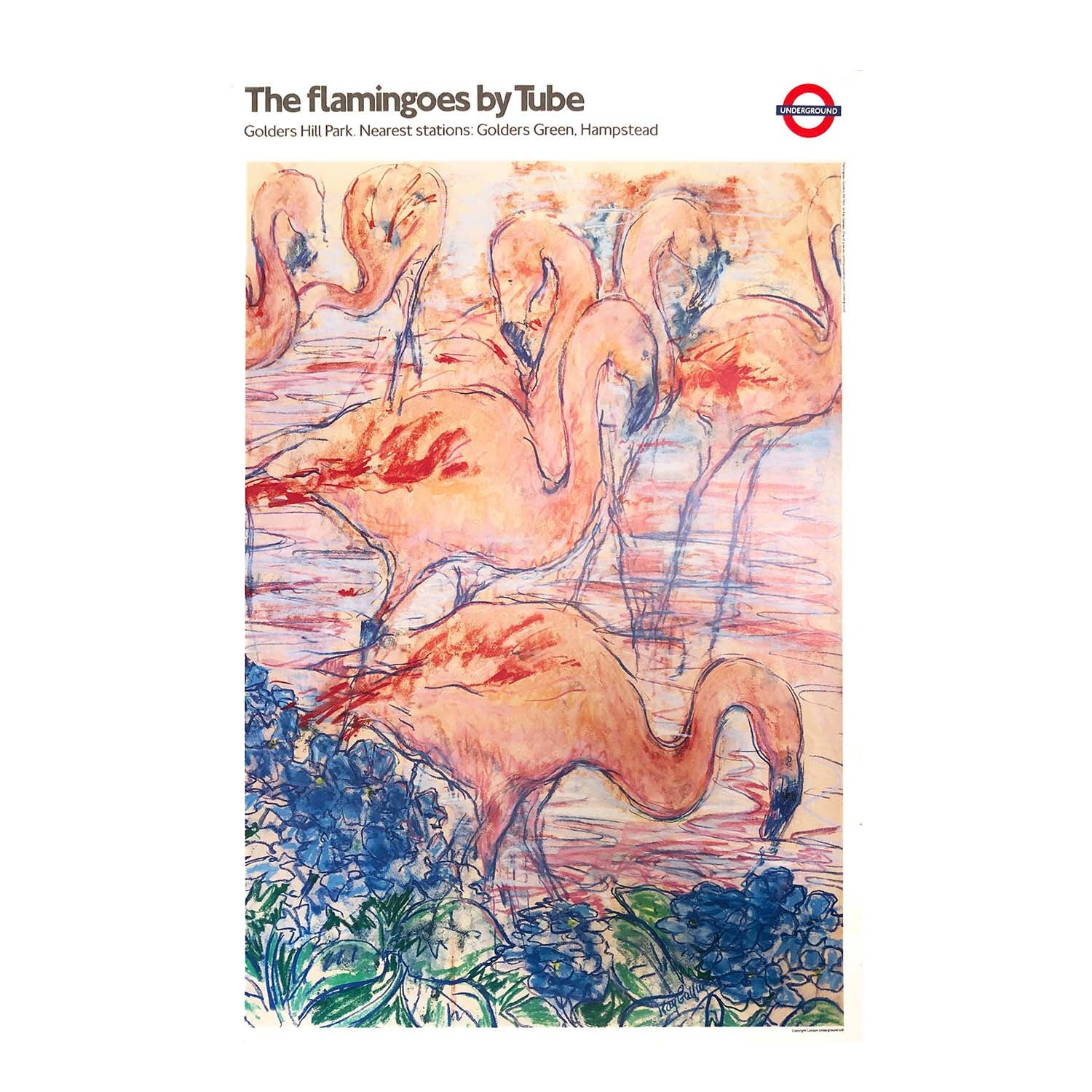 Original 1987 London Underground poster, flamingos at Golders Hill Park in north west London
