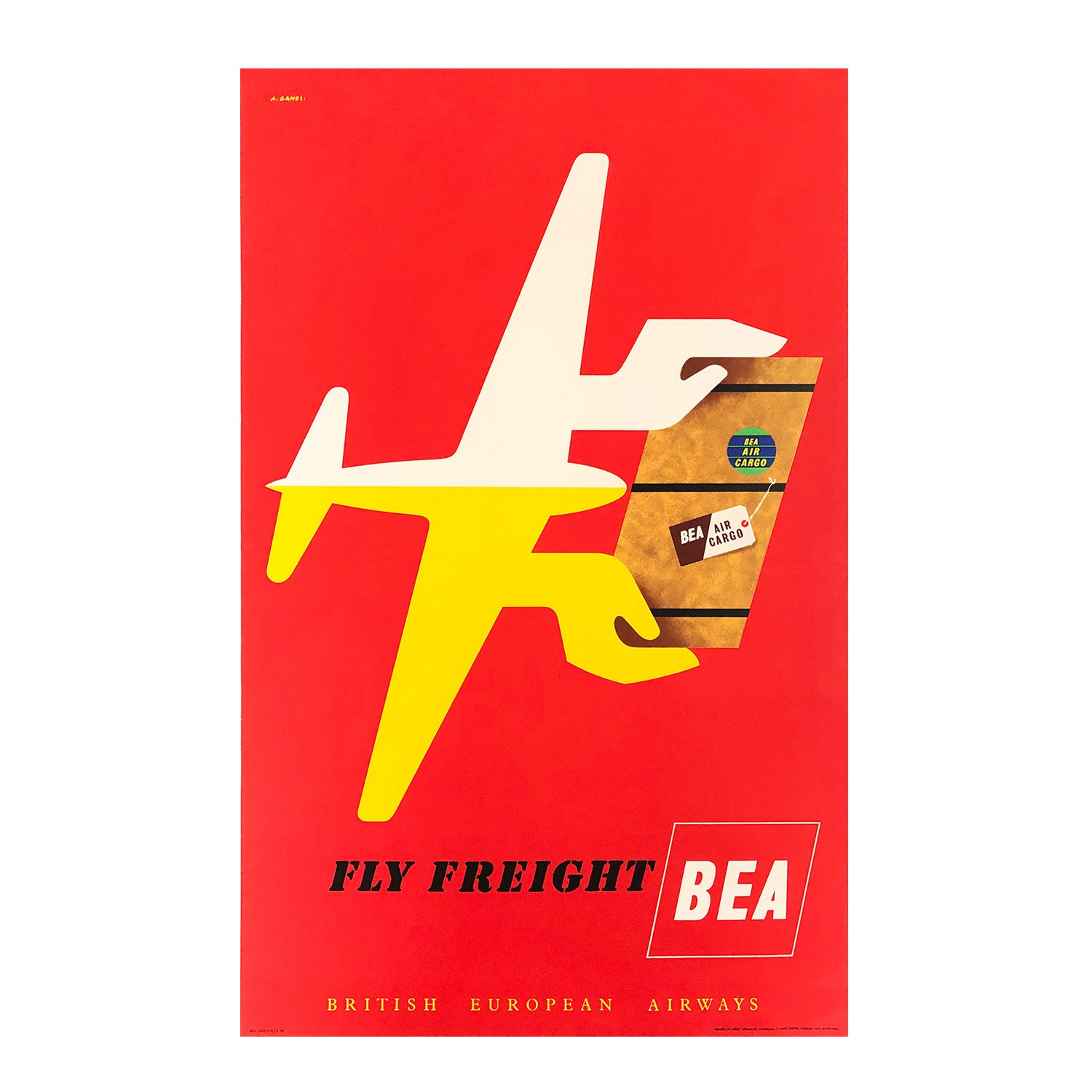 Original mid-century modern British European Airways poster by Britain's most significant post-war poster designer, Abram Games.
