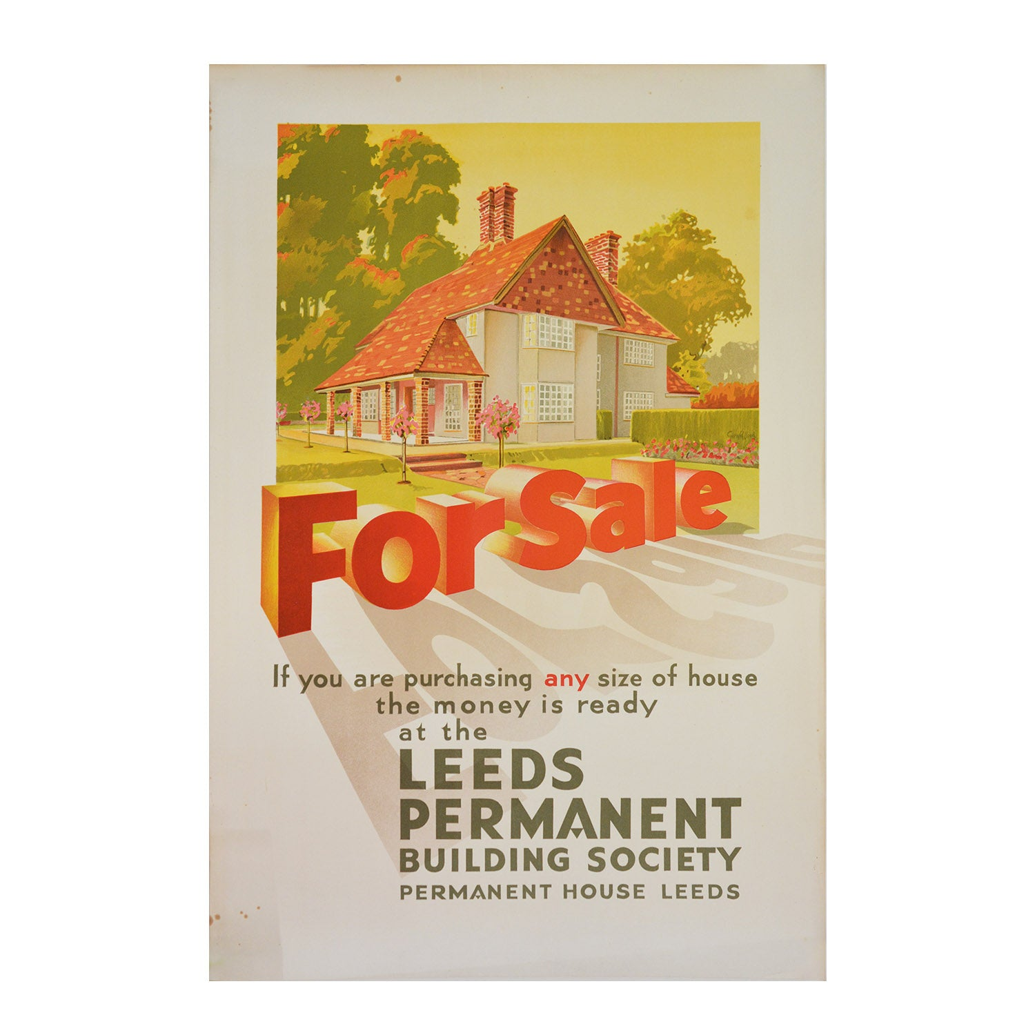 Original Leeds Permanent Building Society poster, c.1935