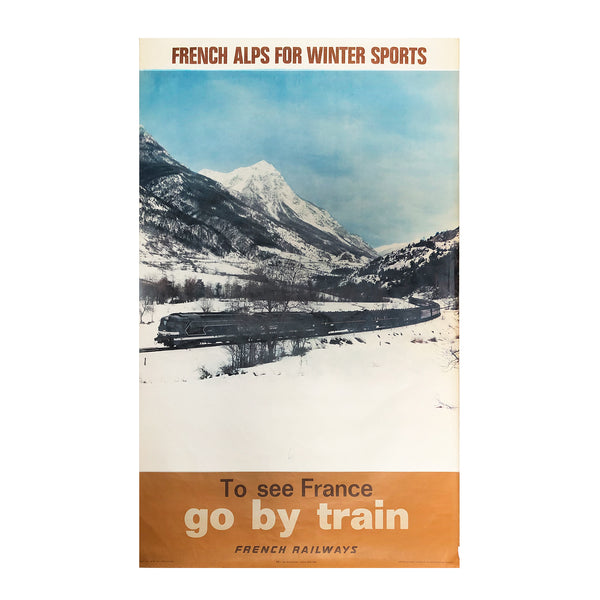 An original early 1970s French Railways (SNCF) poster promoting rail travel to Alpine ski resorts.
