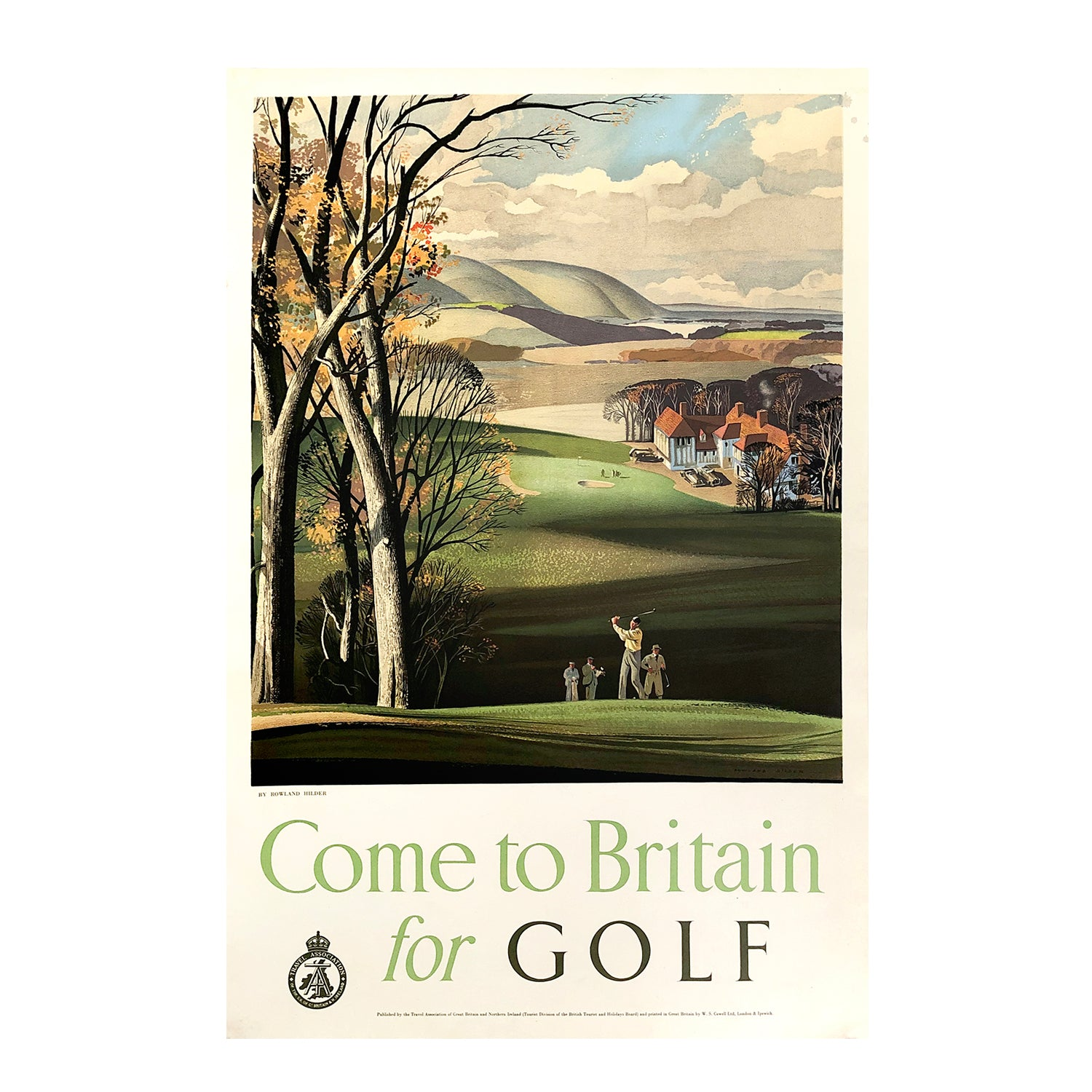 original Come to Britain for Golf poster 1950