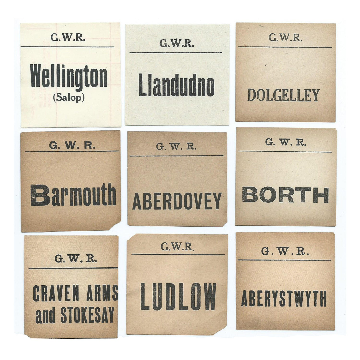 Original Great Western Railway luggage labels