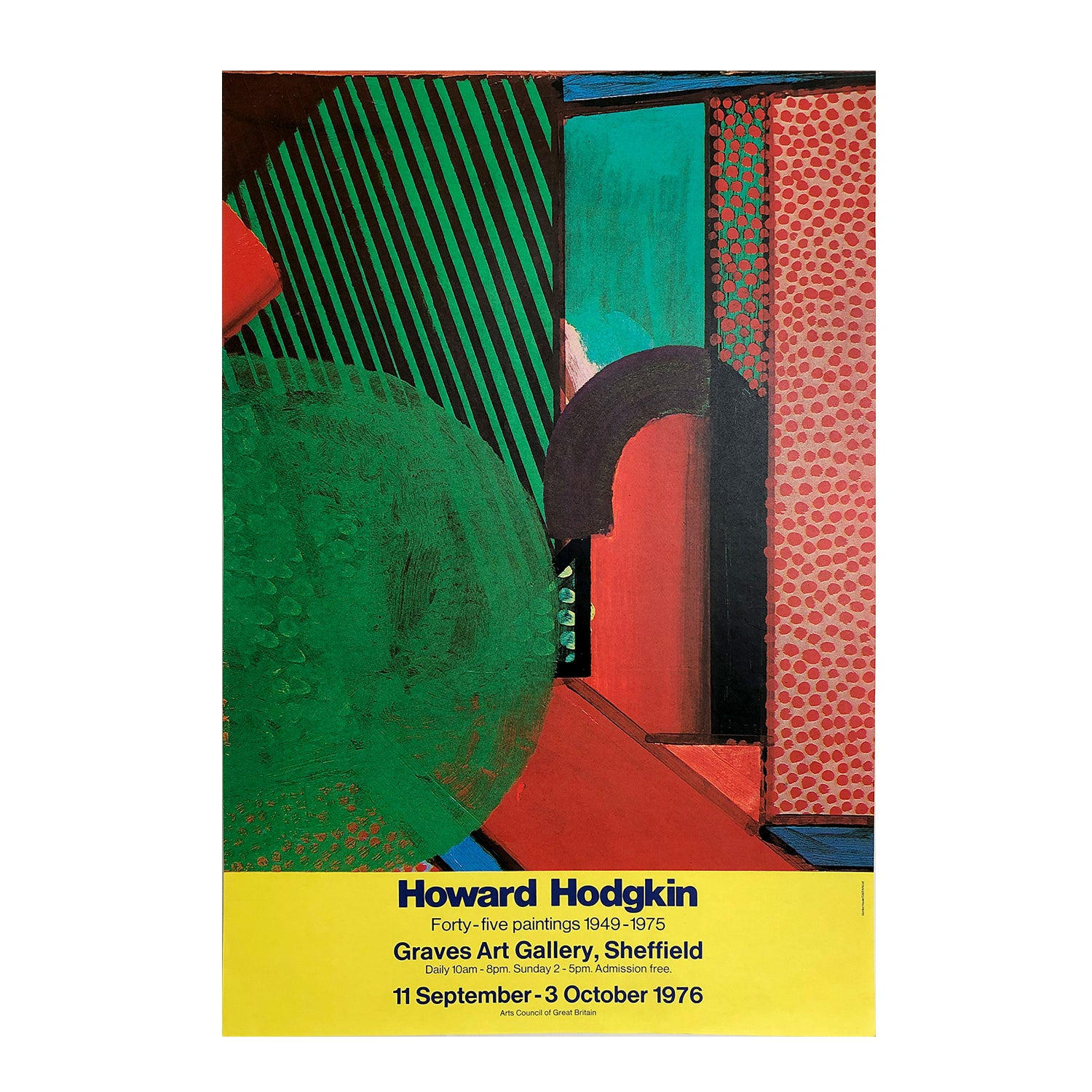 Original poster Howard Hodgkin. Forty-Five paintings, 1949-1975. Exhibition