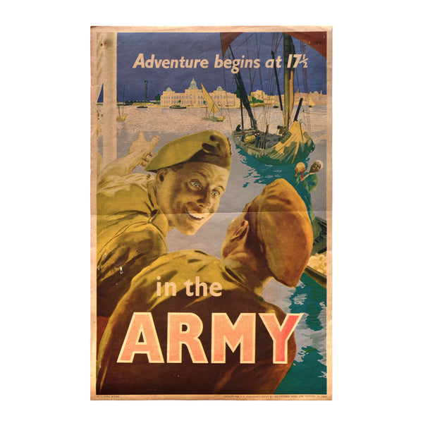 Original 1950 recruiting poster Adventure begins at 17 1/2 in the Army