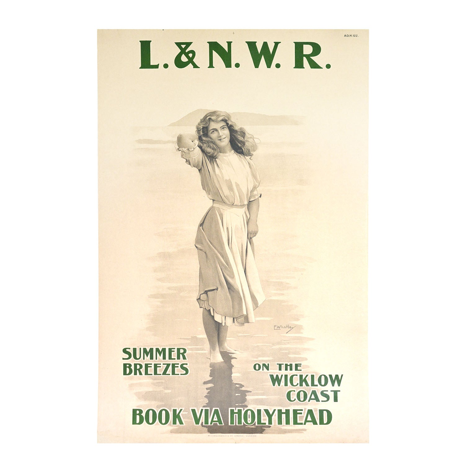 British railway poster, published by the London & North Western Railway (LNWR) for Wicklow on the east coast of Ireland