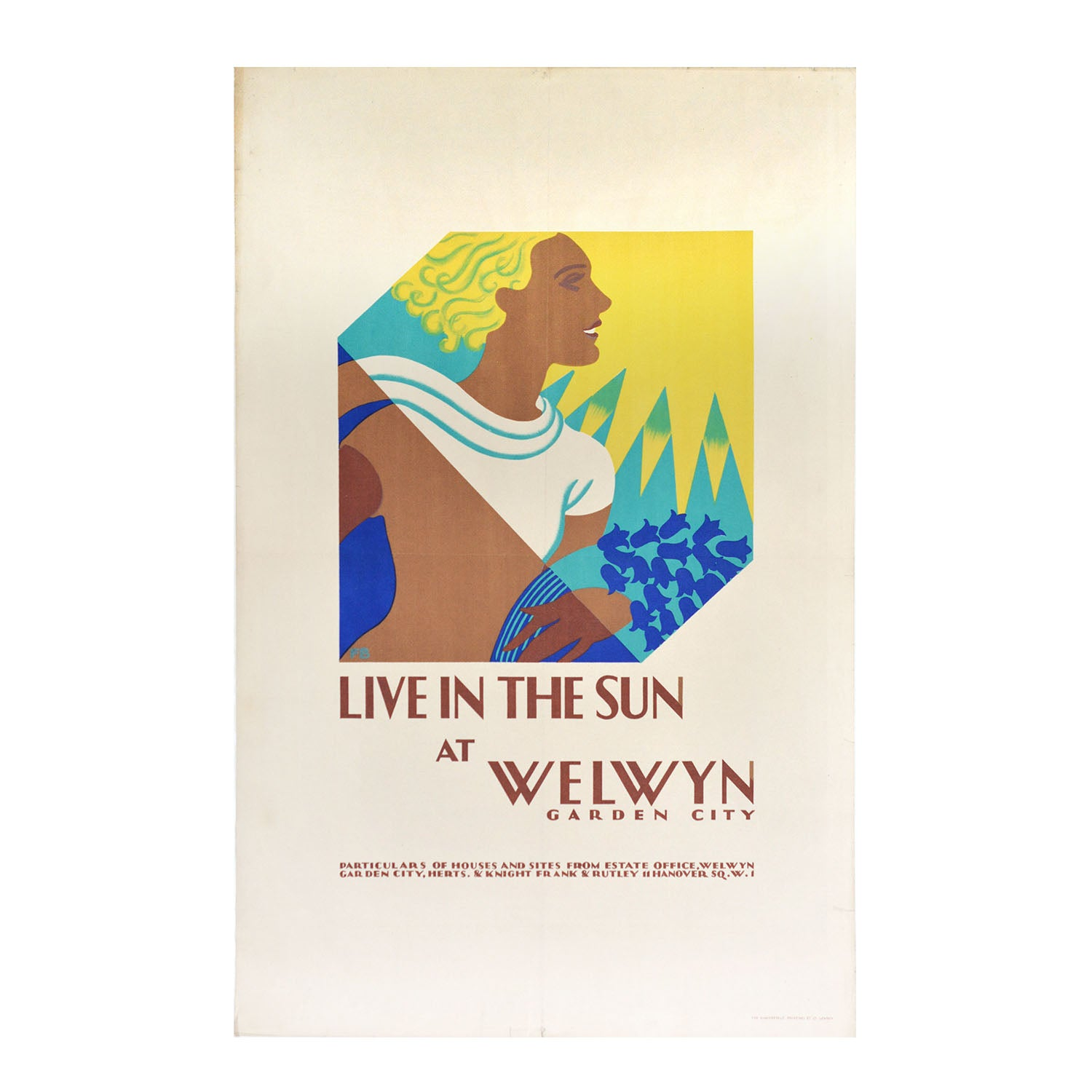 An exceptional, and rare, original poster for Welwyn Garden City by Freda Beard