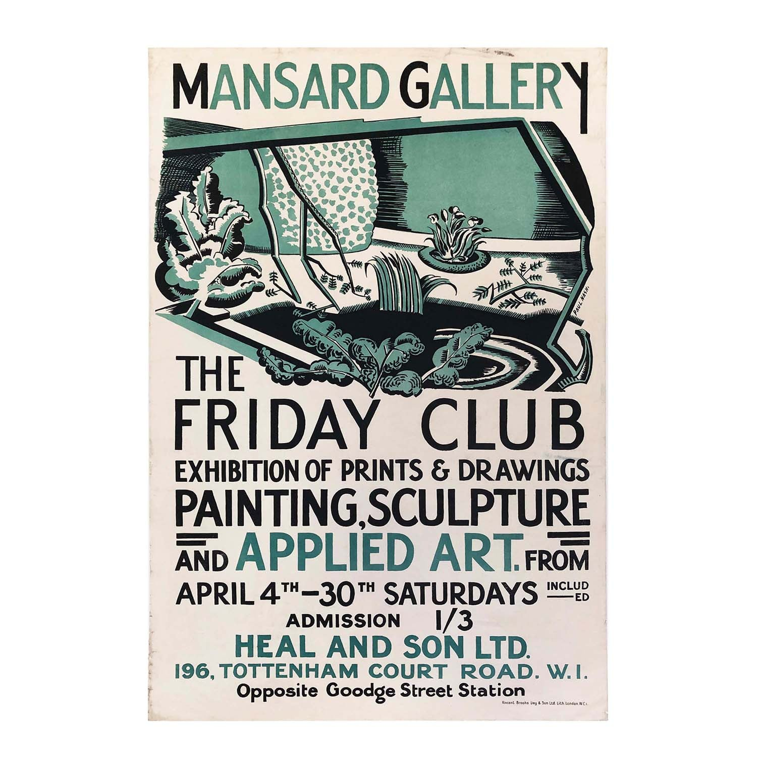 An important, and rare, exhibition poster for the Friday Club designed by the British surrealist painter and war artist, Paul Nash