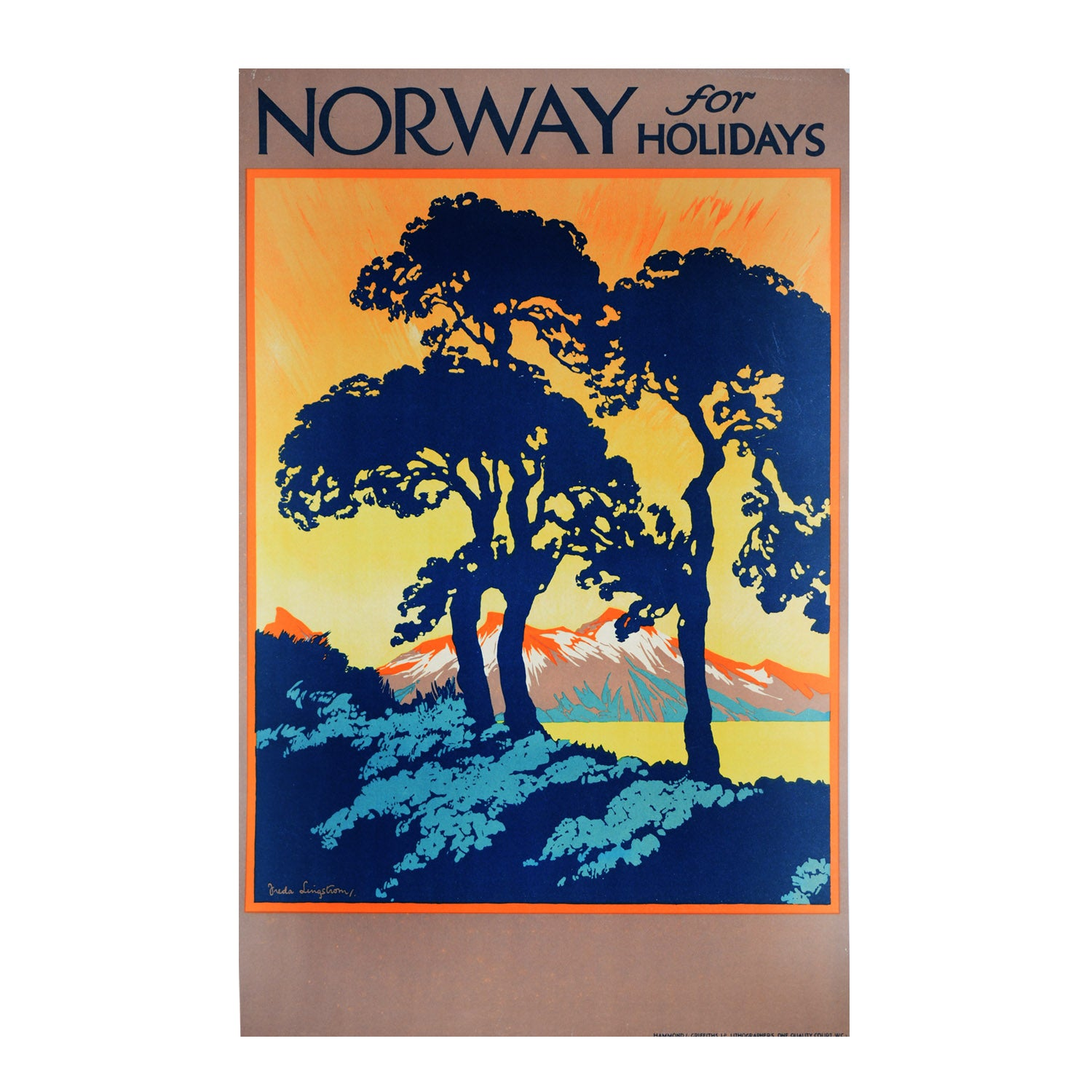 Original Norwegian State Railways poster. Norway for Holidays. Freda Lingstrom. 1920s.