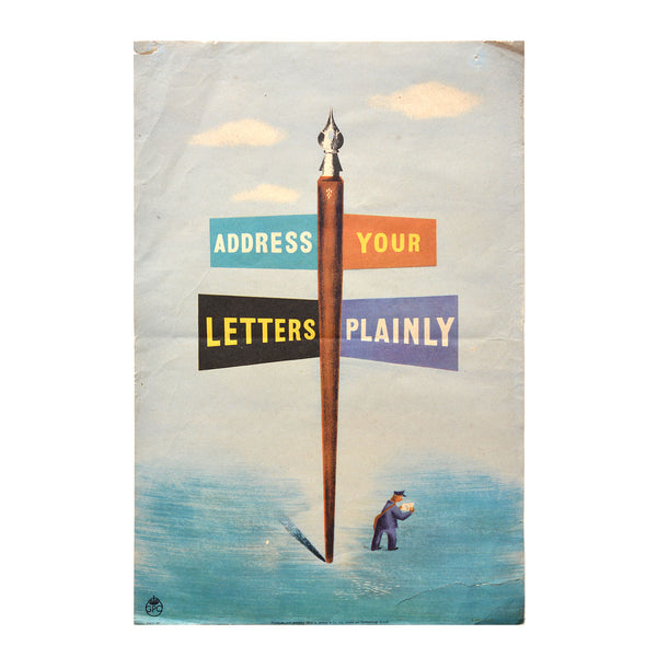 Original GPO poster Address your letters plainly
