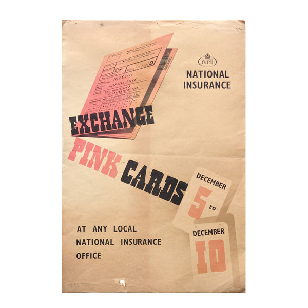 Original poster, National Insurance, Exchange pink cards, 1950