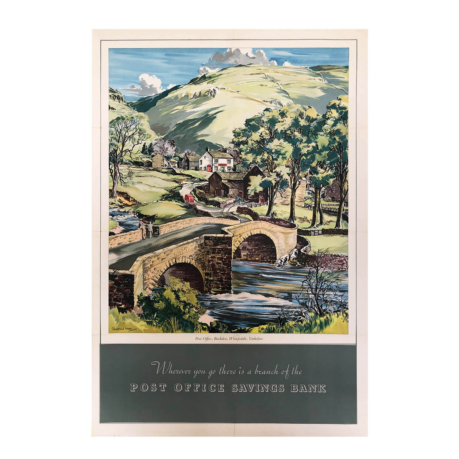 An original, vintage, Post Office Savings Bank poster depicting Buckden Post Office and village in Wharfdale, Yorkshire