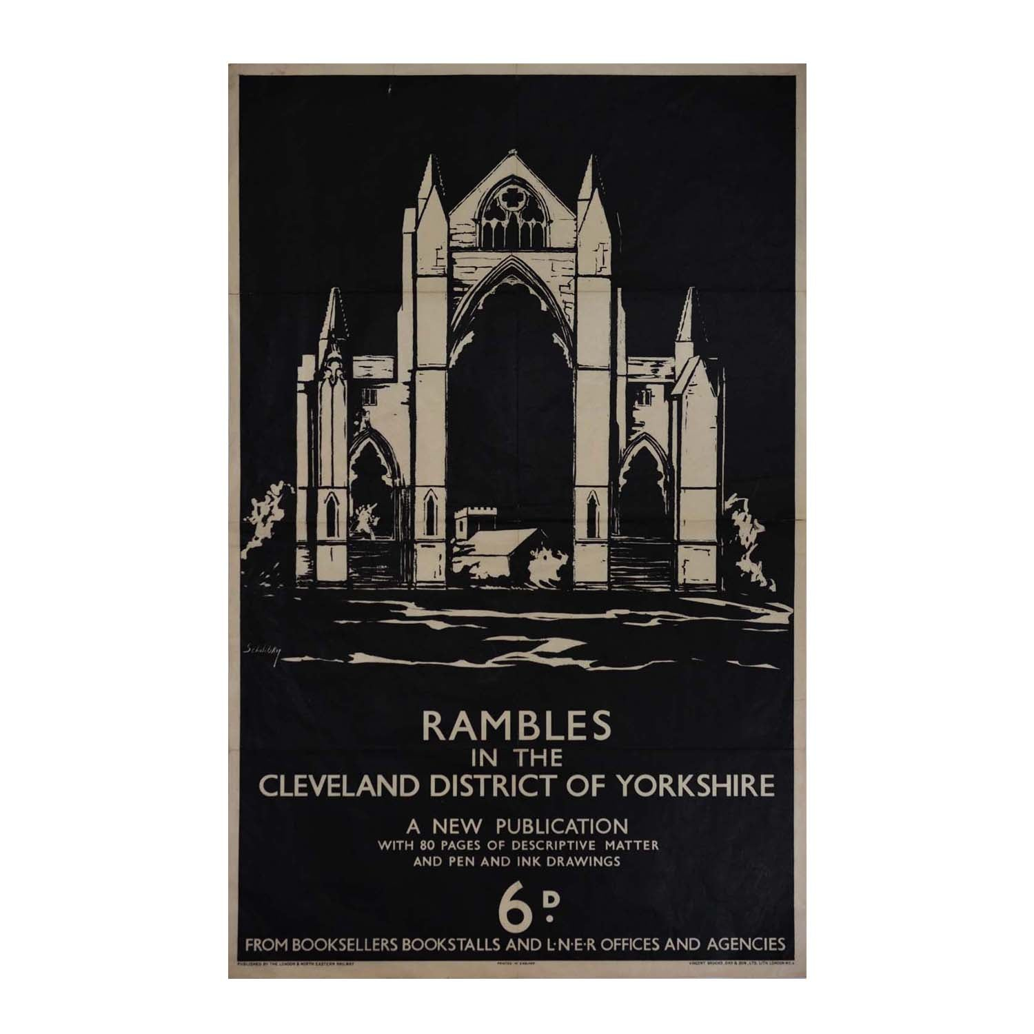 Original LNER poster Rambles Cleveland District Shabelsky