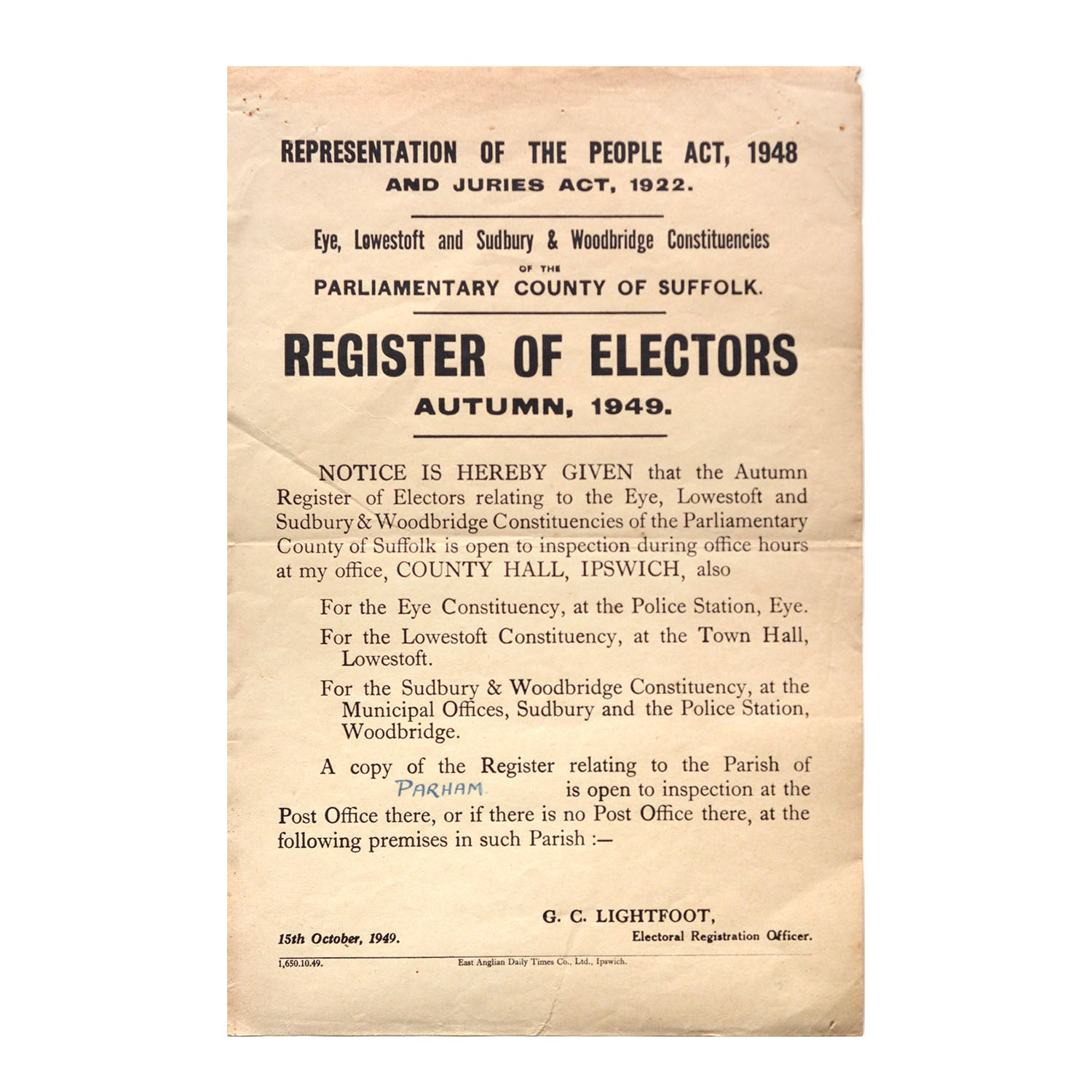 Original 1949 notice Register of Electors, Eye, Lowescroft and Sudbury & Woodbridge Constituencies