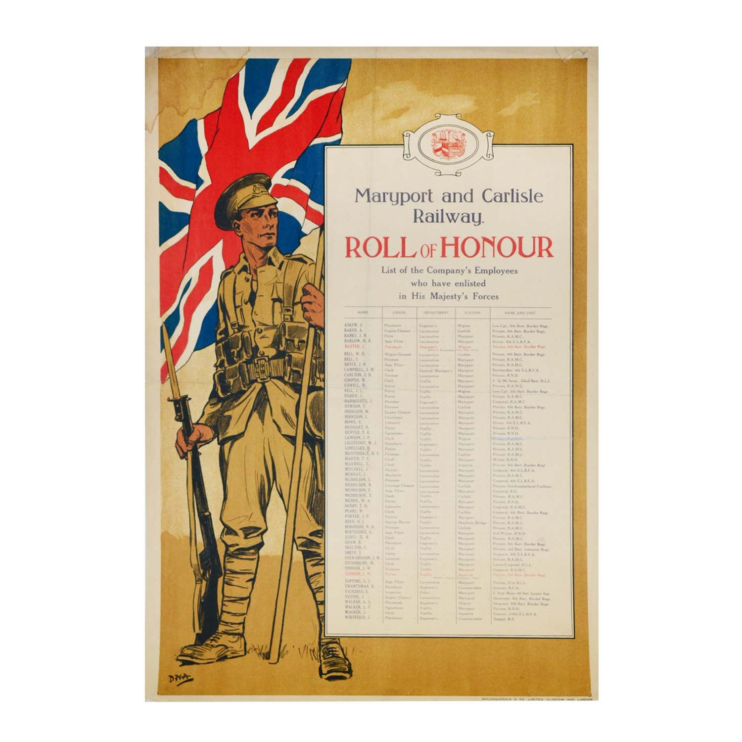 Original First World War poster. Roll of Honour, Maryport & Carlisle Railway. 1915
