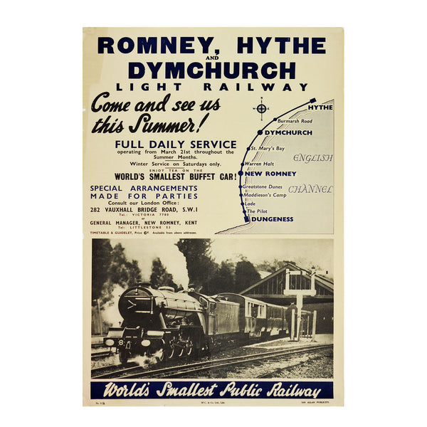 An early post-war poster for The Romney, Hythe & Dymchurch Railway (RH&DR
