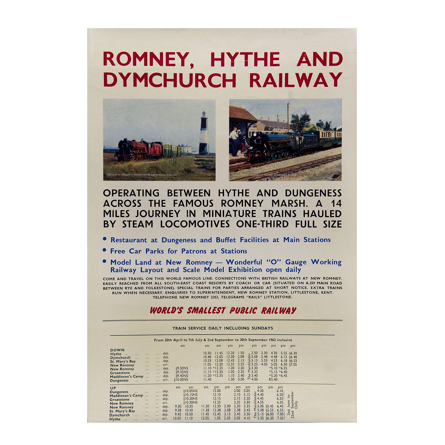 Romney, Hythe and Dymchurch Railway. Timetable