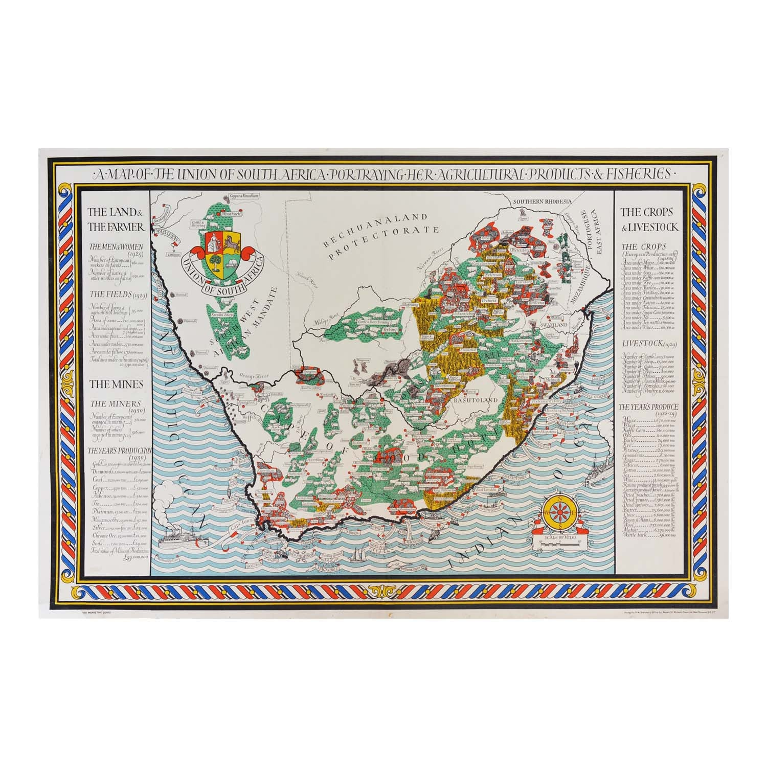 Original Macdonald Gill poster map South Africa 1930s