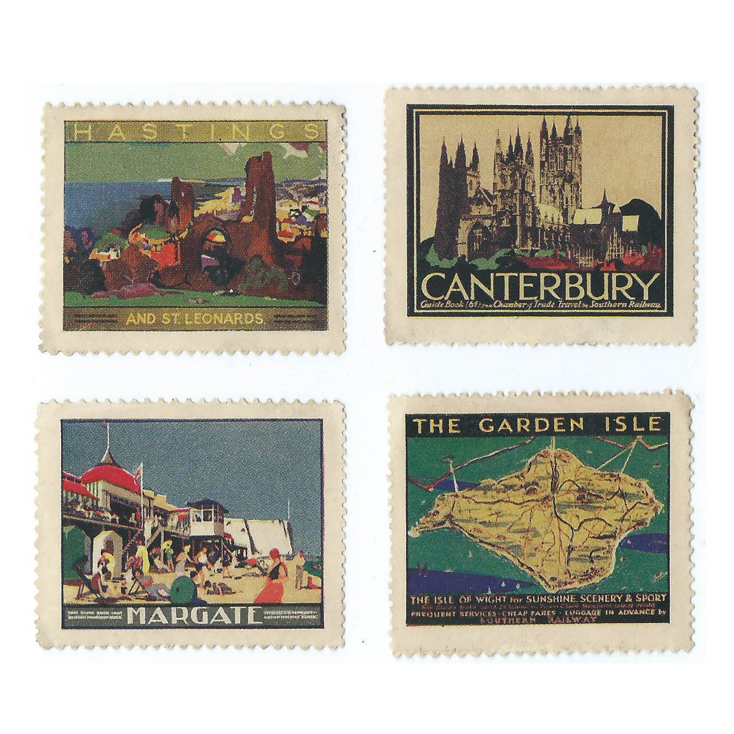 4 1930s poster stamps: Margate, Hastings, Canterbury and Isle of Wight