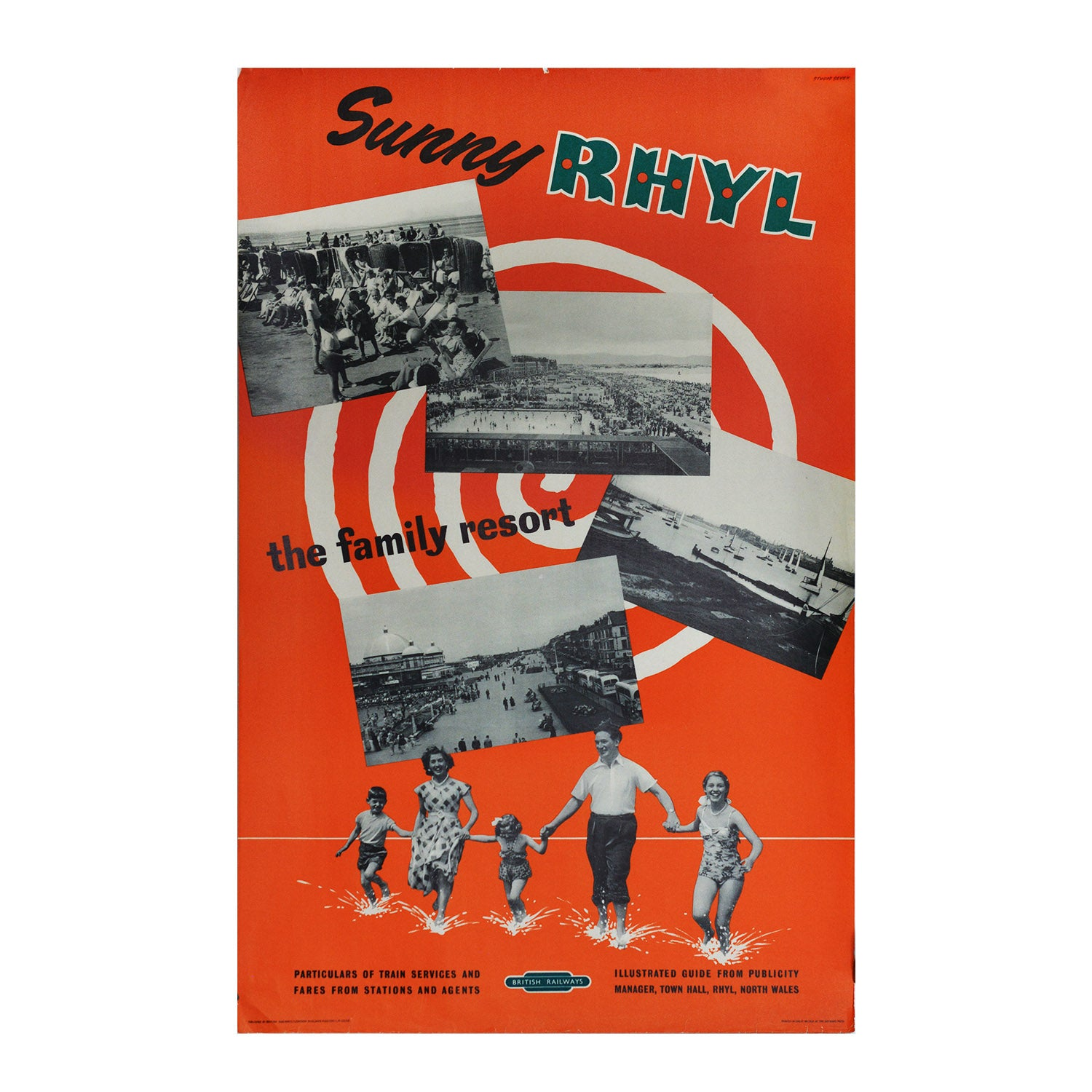 Original British Railways poster Sunny Rhyl, 1956
