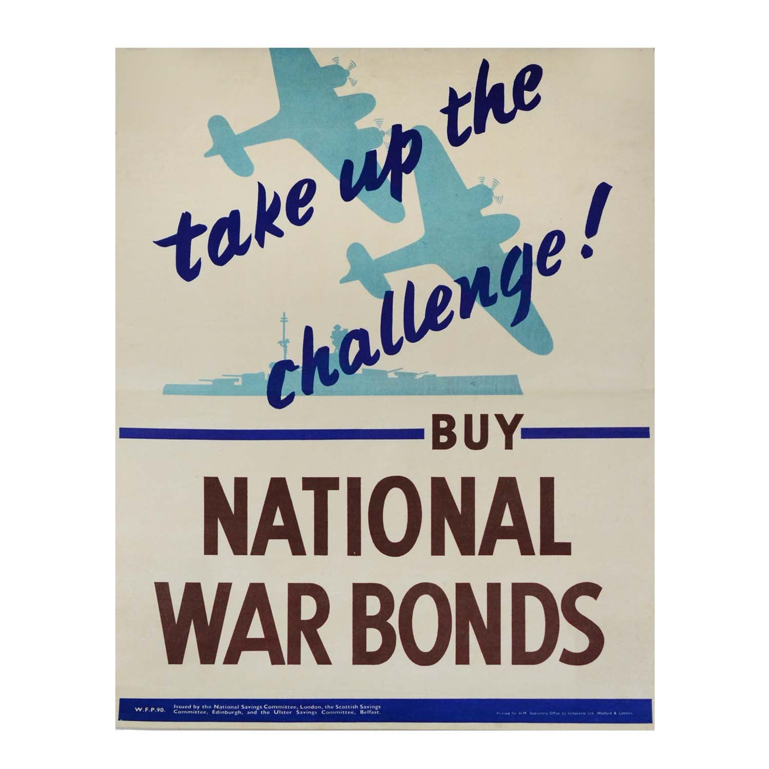 Original Take up the Challenge Second World War poster