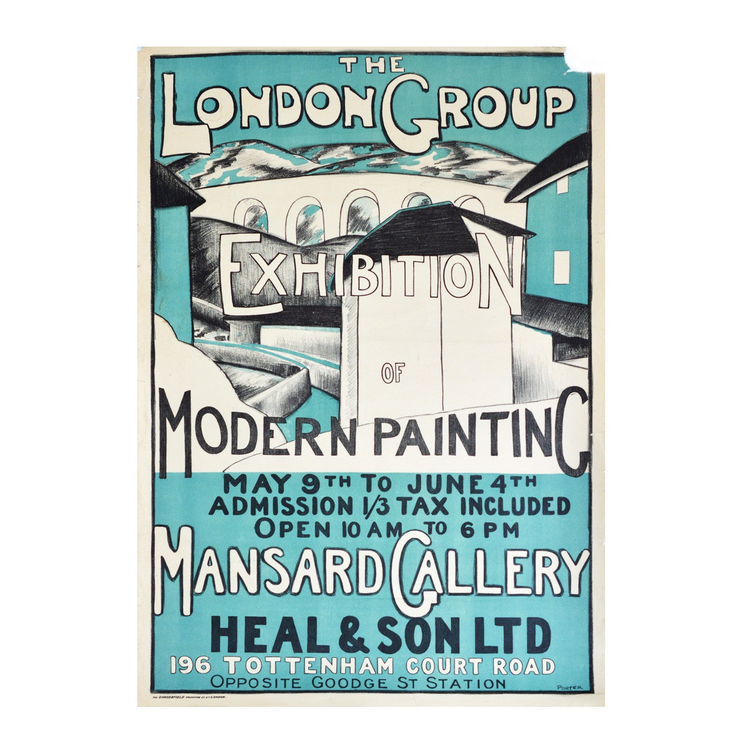 Original London Group poster. Camden Town Group. English Cubists, 1920s. Mansard Gallery poster.