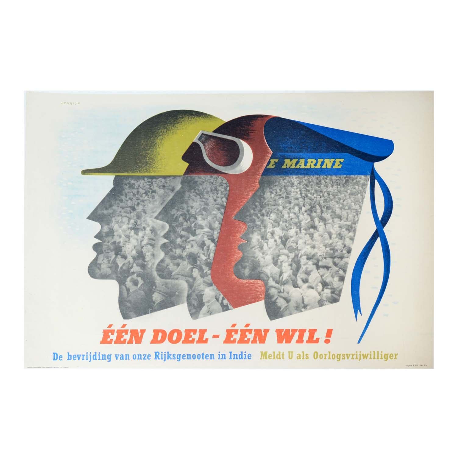 Original Second World War Dutch Government poster One Aim - One Will ! (Een Doel - Een Wil !)