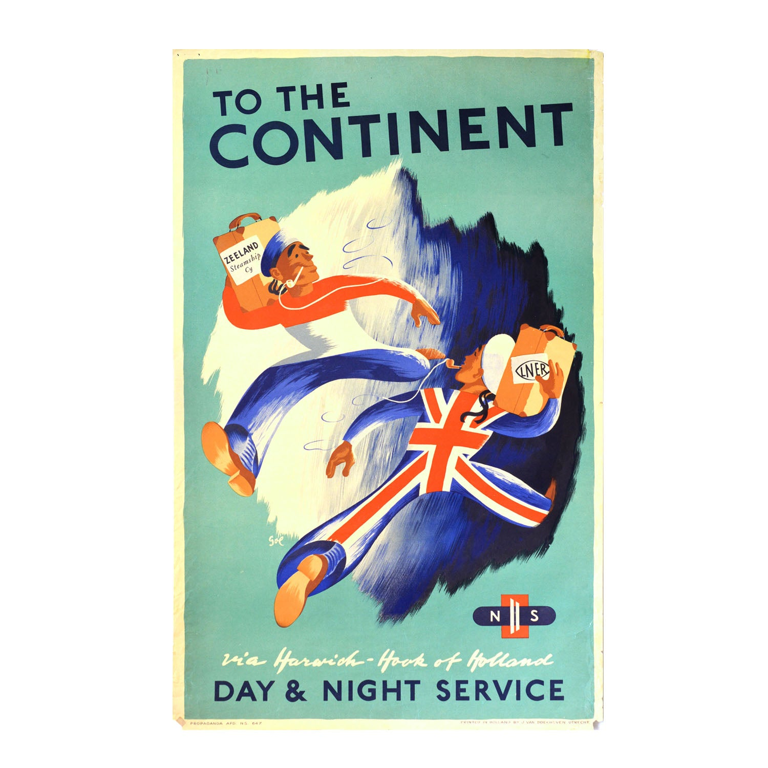 Original railway poster To the Continent