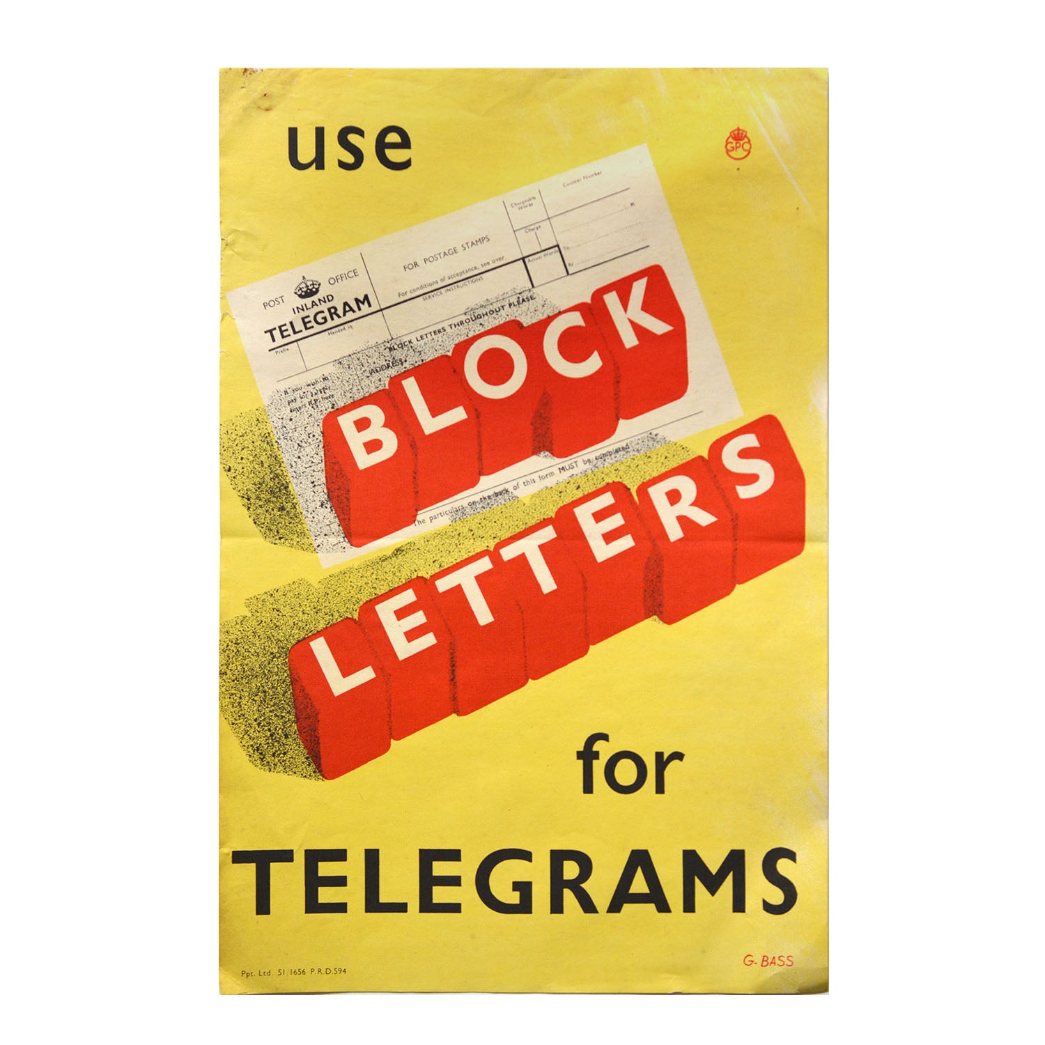 Original GPO poster Use Block Letters for telegrams