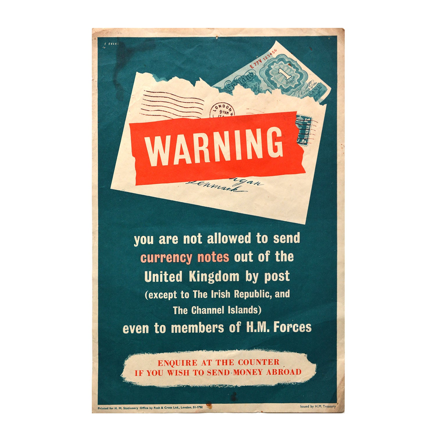 Original poster Warning. You are not allowed to send currency notes out of the United Kingdom by post