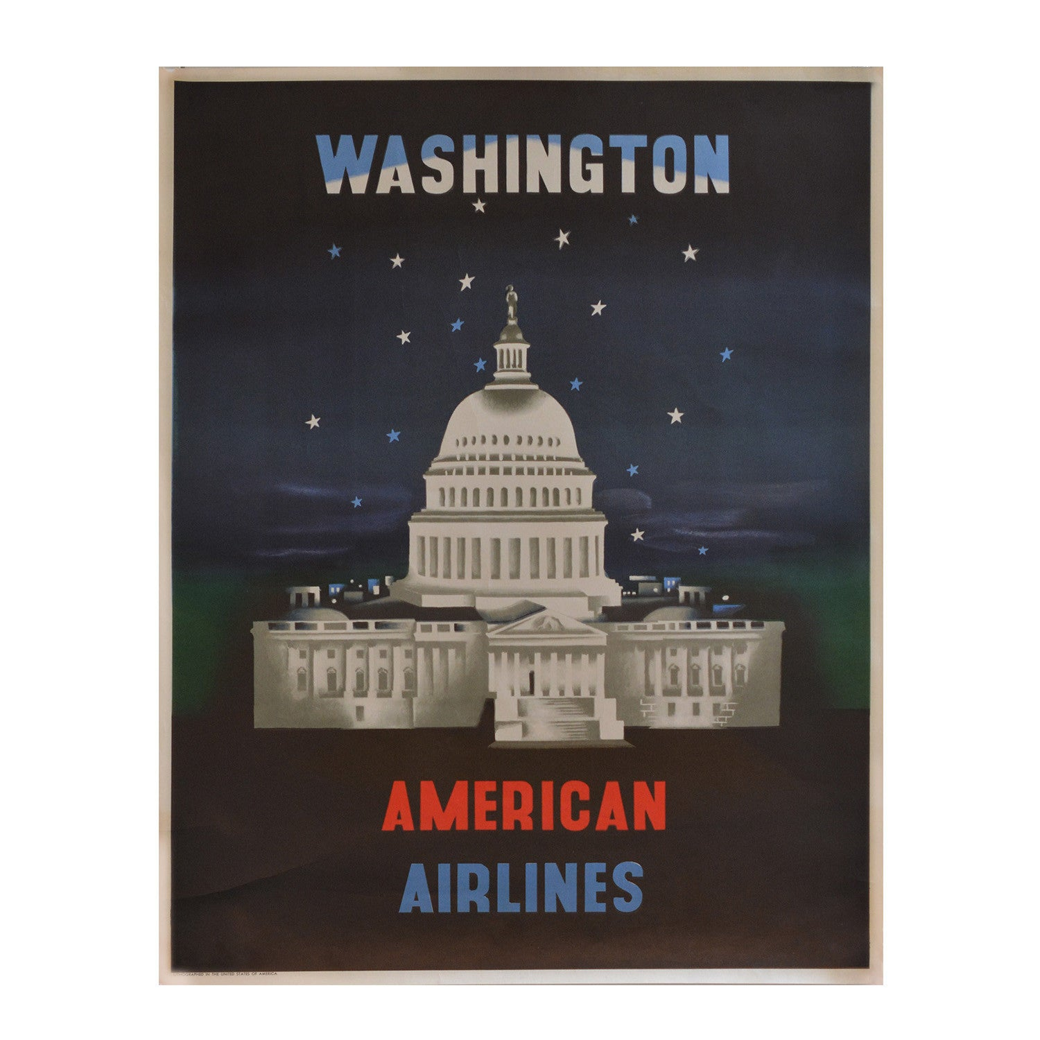 Original McKnight Kauffer American Airlines Poster, Washington