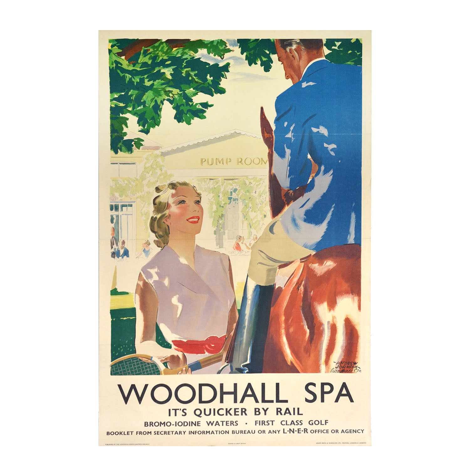 A lovely, and uncommon, original 1930s railway poster for Woodhall Spa, Lincolnshire.
