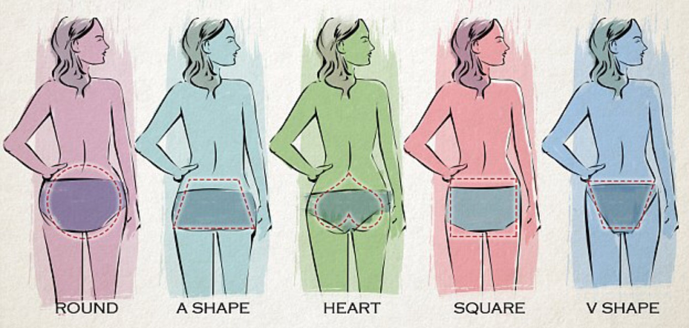 A sketch of the rear view of different womens body shapes and sizes