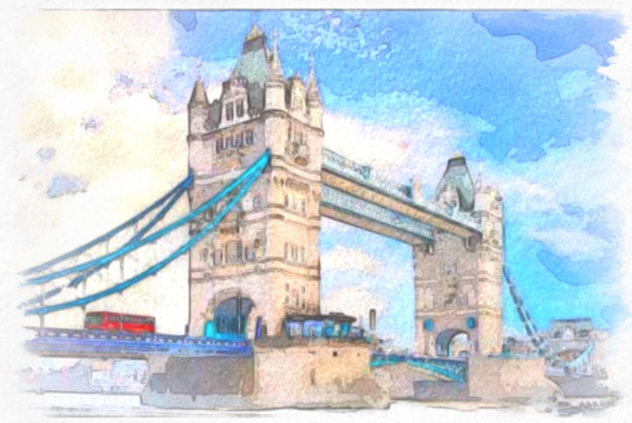 Artist's sketch of london bridge and london landmarks.