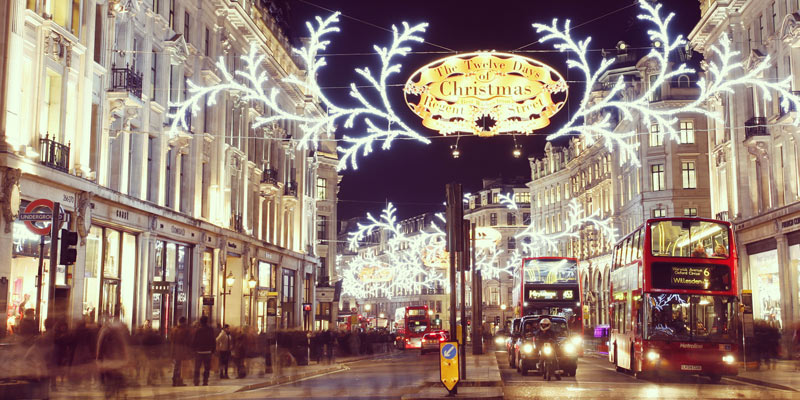 View of the Christmas lights and decorations in London's Regent Street.
