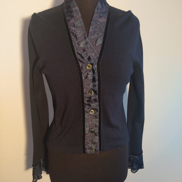 Wool Blend Cardigan With Devore Trims - Size S (Fits 8 - 12)