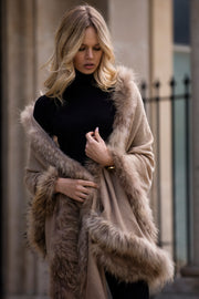 Ladies fur trimmed shawl, with large cashmere pashmina scarf edged in fur