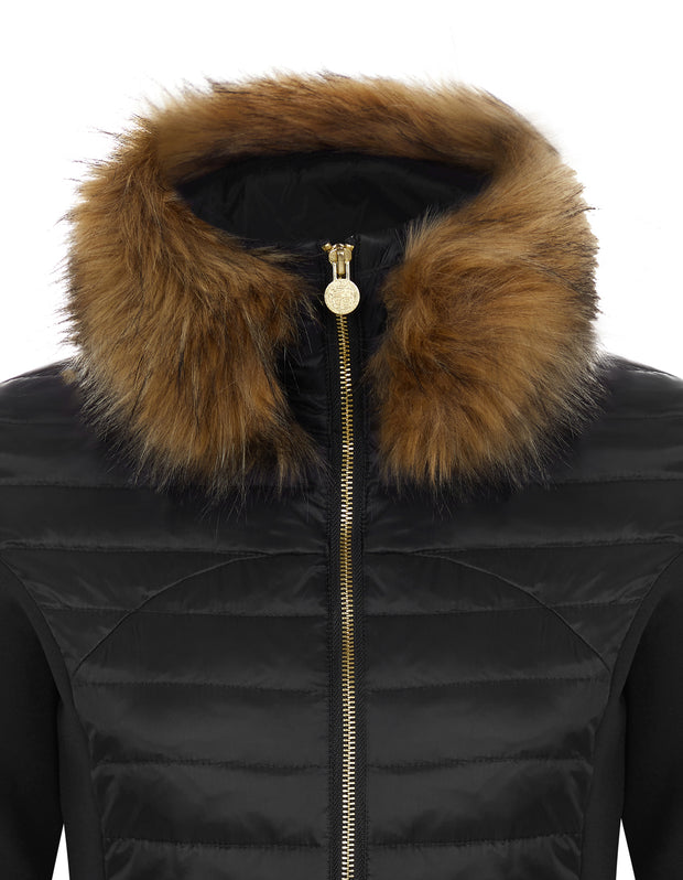 Black Puffer Jacket - Luxe Faux Fur Collar