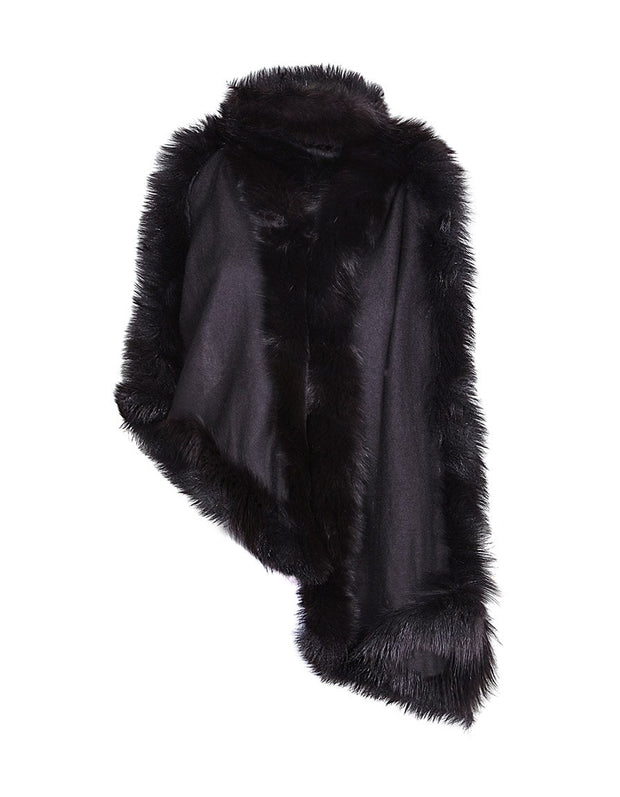 Black fur trimmed cashmere pashmina wrap, with cashmere wool blend shawl and black fur trim