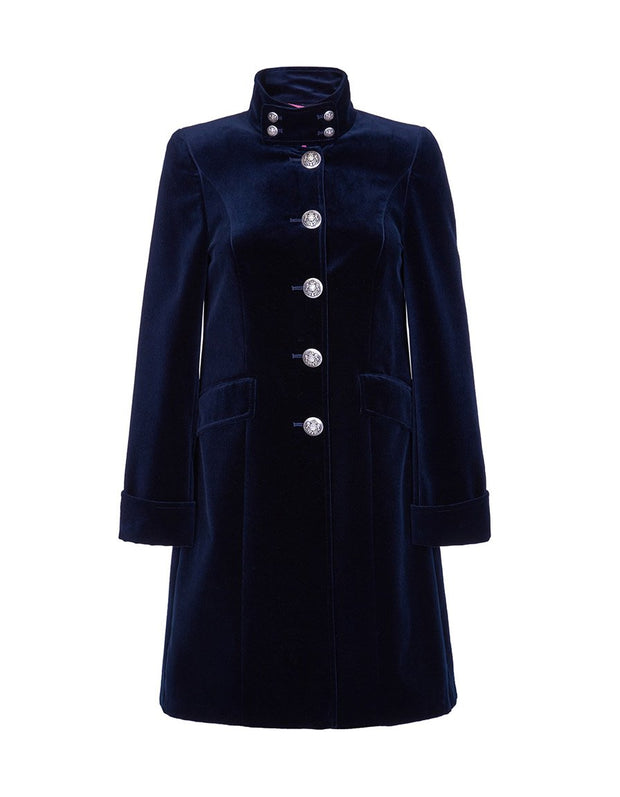 Womens blue velvet evening coat with high collar and elegant tailoring