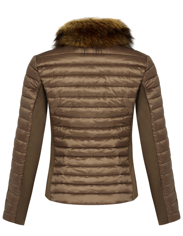Bronze Puffer Jacket - Luxe Faux Fur Collar