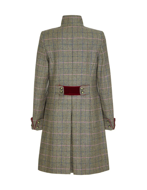 Women's wool coat in green check tweed with velvet detail and fitted cut