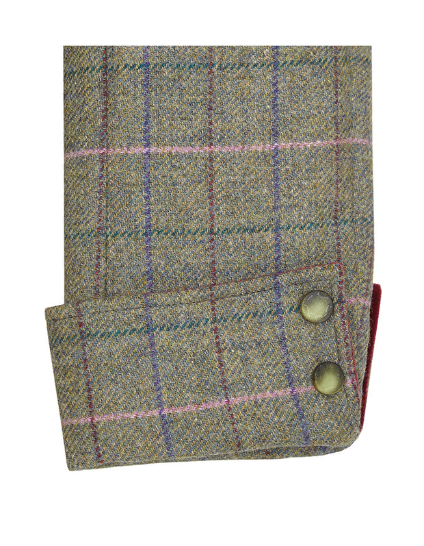 Green check wool sleeve on Burghley women's tweed coat